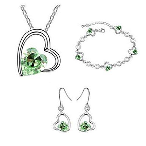 GYJUN Bijoux Collier Boucles d'Oreille Bracelet Cristal Soirée Alliage 1set Femme, green