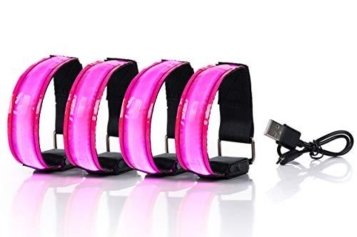 SAIBANGZI Aufladbares LED Armband, Leuchtband für Joggen, Laufen – Sicherheitslicht, Reflektor und Blinklicht für Kinder – Blinkende und statische LED-Funktionen, USB aufladbar (4 Stück) (pink)