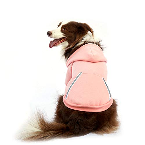 Dog Hoodie Fleece Sweatshirt for Small Medium Large Extra Small XL Dogs Charcoal Gray Pink Red Purple with Harness Hole and Reflective Stripe Zipper Pullover Dogs Hooded Warm Jacket (XL, Pink)
