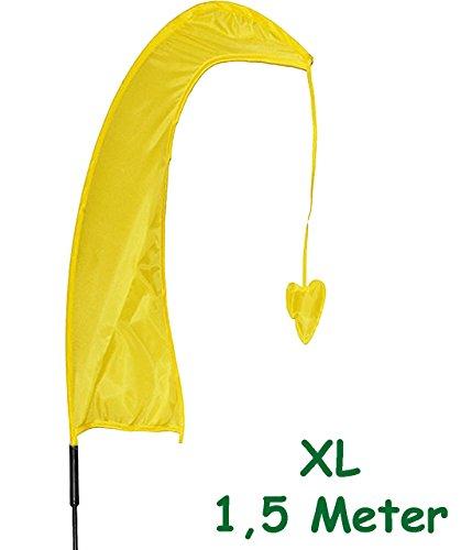alles-meine.de GmbH 1 Stück _ XL - 1,5 m - Windfahne / Balifahne -  GELB  - mit Fahnenstange - UV-beständig & wetterfest - Windrichtungsanzeige - aus Nylon / Flagge Windrichtun..