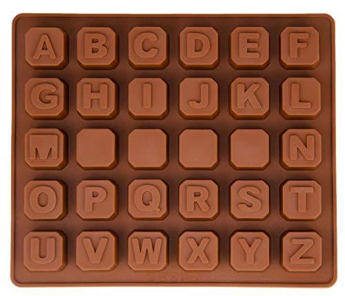 Silikonform mit Buchstaben, Alphabet, Pralinenform, Schokoladenform, Gießform, Eiswürfelform, Beton, Fondant, Backform, Kuchenverzierung, Farbe: Braun