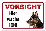 Vorsicht Deutscher Schäferhund - Hier wache ich - (20x30cm) thumbnail