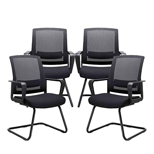 CLATINA Office Guest Chair with Lumbar Support and Mid Back Mesh Space Air Grid Series for Reception Conference Room BIFMA Certified 4 Pack