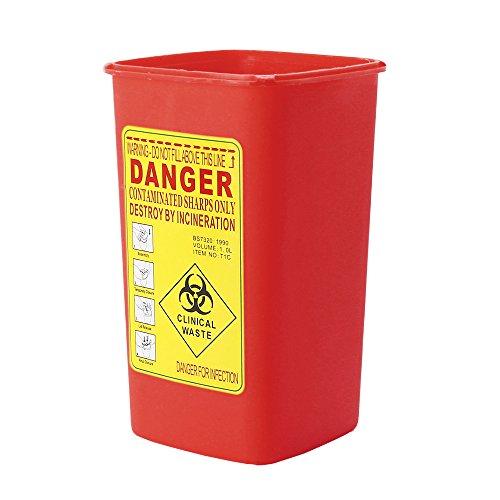 Benkeg Conteneur Tranchant - Boîte en Plastique de Déchets D'Élimination D'Aiguille de Biohazard de Récipient de Sharps en Plastique Médical pour L'Artiste de Tatouage