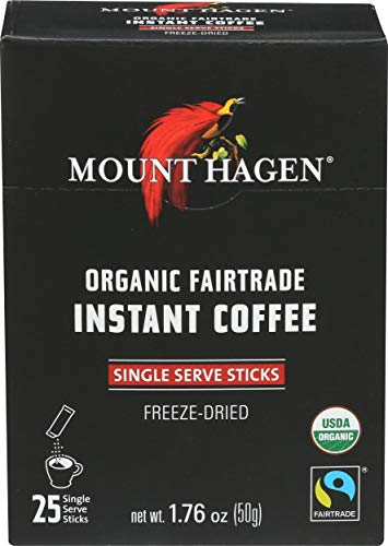 Mount Hagen Organic Instant Regular Coffee 25 Count Single Serve packet Net wt 176 oz 50g