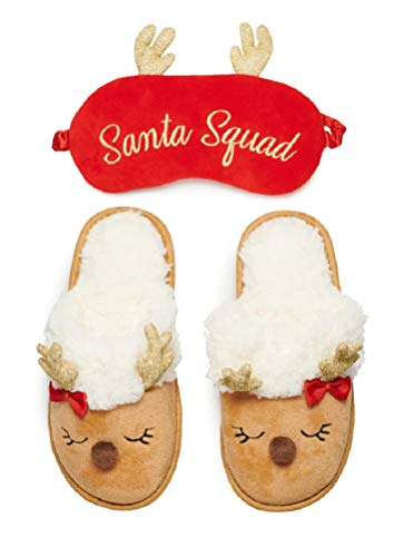 Capelli Girls Santa Squad Reindeer Christmas Slippers & Mask Size 10/11 Brown Red