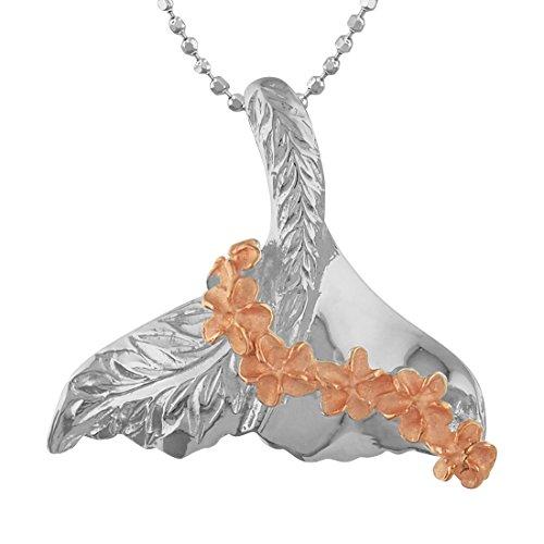 Hawaiian Silver Jewelry ホエールテール (くじらの尾) × プルメリア レイ ネックレス ピンクゴールド トーン シルバー925 ハワイアン シルバー ジュエリー [チェーン付き]