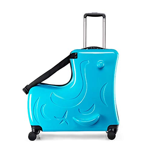 FREEUP Kids Ride-On Suitcase Children's Hand Luggage Carry On Trolley 36 Liters 4 Wheels Combination Lock,Blue,24inch