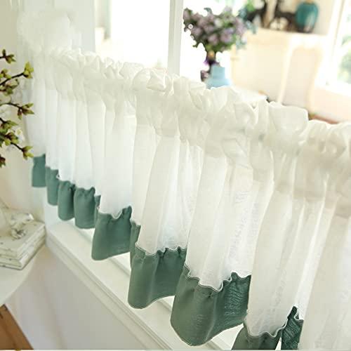 Cortinas cortas para café, Cortina de Media lino de algodón, blanco + verde, tratamiento de media ventana, cortinas pequeñas para cocina, cortinas para cuarto de baño ( Size : 70x250cm/27.5x98.4in )