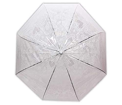 Alsino Regenschirm Hochzeitsregenschirm Glockenschirm Herzen Blumen Transparent Durchsichtig C-Griff mit Automatik Druckknopf groß und leicht für Frauen, Weiß