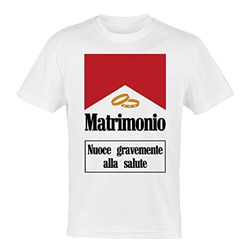 My Digital Print T-Shirt Addio al Celibato, Il Matrimonio Nuoce Gravemente alla Salute, Sposo Matrimonio (Bianco, L IT Uomo)