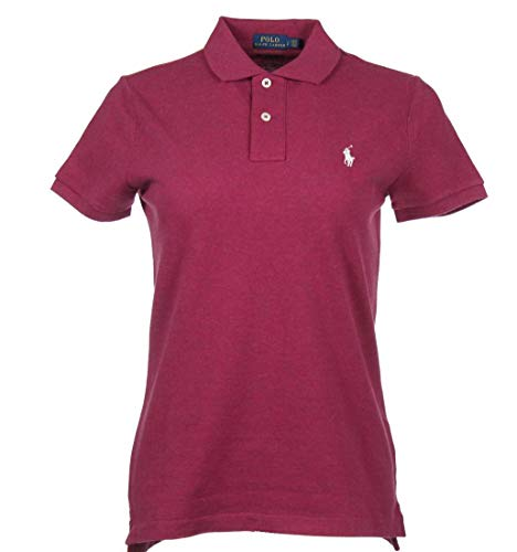 Ralph Lauren Damen Kurzarm Polo - Skinny Fit - Pink meliert (S)