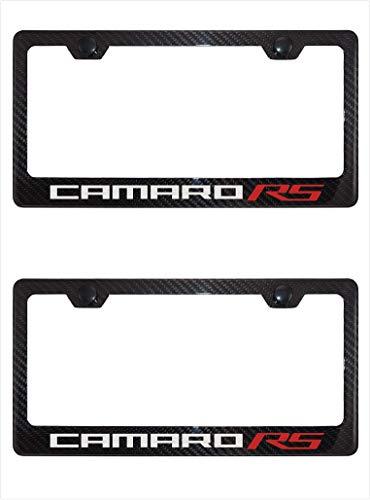Lavnox Carbon Fiber Metal Camaro RS License Plate Frame Tag Holder Mount for Chevy Camaro (2)