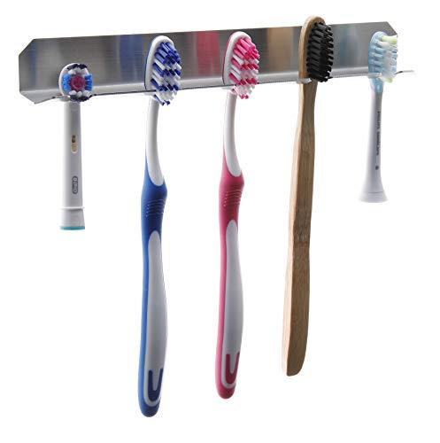 FGE-Line 5er Zahnbürstenhalter aus Edelstahl | selbstklebend & ohne Bohren | Made in Germany