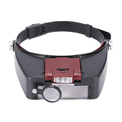 Lupa de Cabeza,Lupa De Tipo Anteojos 10x diadema de banda lupa de lupa estilo lupa lente luces lupa microscopio para reparar reloj de lectura de joyería