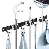 Broom Mop Holder Wall Mount 16' Installation Broom Mop Hanger Organizer Stainless Steel 3 Racks 4 Hooks for closet-Black