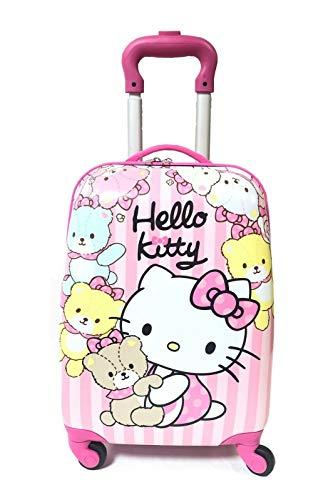 Bambini Bambini Vacanza Personaggio Valigia Bagagli Trolley Borse 18 pollici Rosa Hello Kitty con Teddy