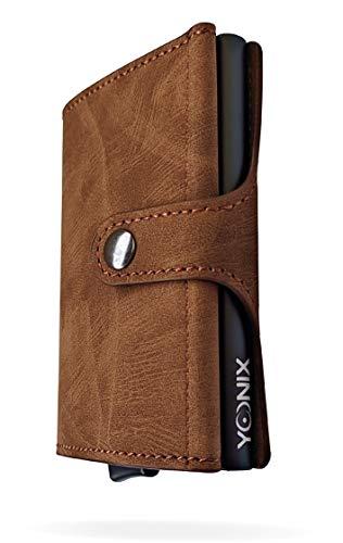 Porte-cartes de crédit 6 + 4 Blindé par RFID Anticlonage en cuir PU et aluminium – Porte-cartes avec pince à billets automatique de poche Petit léger – Pour homme et femme
