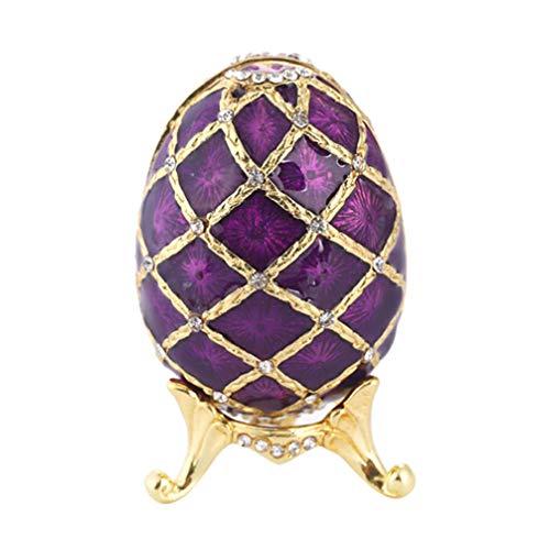 Caixa de joias para ovos de Páscoa HEMOTON Ovo de Faberge ornamento de strass para colar e brincos, recipiente de armazenamento