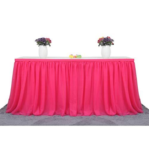 Fashionbeautybuy - Gonna da Tavolo in Tulle, tovaglia per Feste di Matrimonio, 1,8 m, 2,7 m, 4,3 m, Rose Red, 182 cm