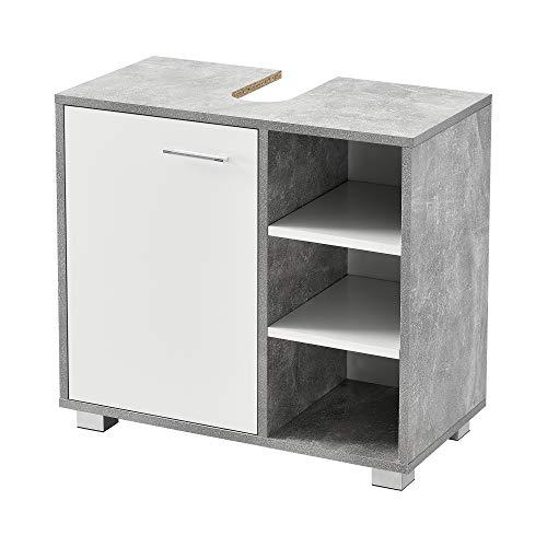 [en.casa] Waschbeckenunterschrank 56 x 60 x 31 cm Badezimmerschrank mit Siphonausschitt Badschrank mit Schranktür 3 Ablagefächern Betonoptik/Weiß