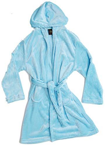 Just Love - Albornoz de felpa con capucha para niñas, Azul claro, 5-6X