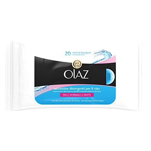 Olaz Salviettine Detergenti per il Viso, Confezione Richiudibile da 20Pezzi, Pelli Normali e Misti