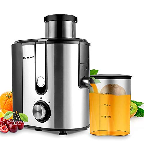 Juicer Machines, HERRCHEF Juice Extractor 600W with 3'' Wide Mouth, Juice and Vegetable Extractor BPA Free, Stainless Steel, Anti-drip, Detachable and Easy to Clean Dual Speeds Centrifugal Juicer Maker