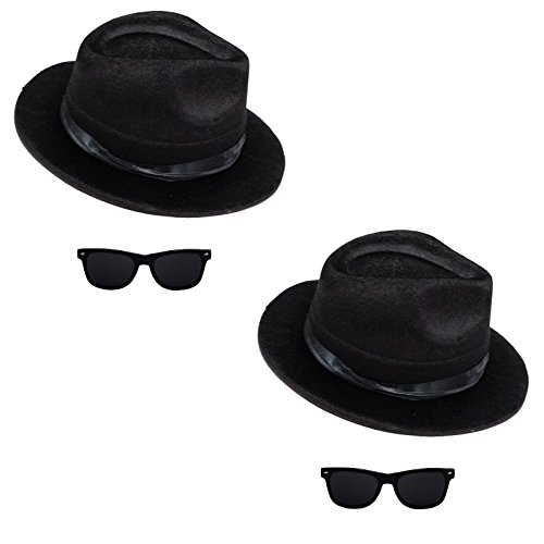 2 x Blues Brothers Set Hut und Brille für Blues Brother Kostüm Karneval Mottoparty