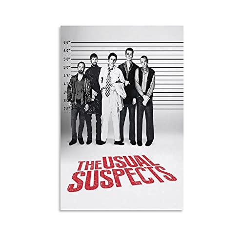 Póster de The Usual Suspects 4 Thriller Mystery Movie Poster en lienzo para colgar en la pared, decoración de la sala de estar, marco sin marco de 40 x 60 cm