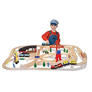 Melissa & Doug Wooden Railway Set, 130 Pieces (E-Commerce Packaging, Great Gift for Girls and Boys - Best for 3, 4, 5 Year Olds and Up) (B07QXM2V9Y)   Amazon price tracker / tracking, Amazon price history charts, Amazon price watches, Amazon price drop alerts