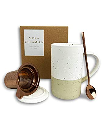 Mora Ceramics Tea Cup with Loose Leaf Infuser, Spoon and Lid, 12 oz, Microwave and Dishwasher Safe Coffee Mug - Rustic Matte Ceramic Glaze, Modern Herbal Tea Strainer - Great Gift for Women, Limestone
