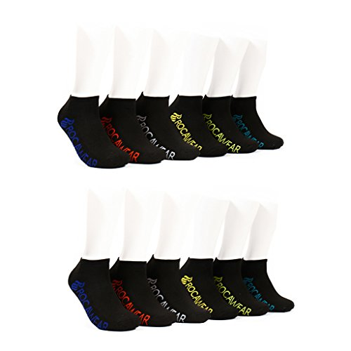 [GRW956074D-Black-10.13] Rocawear Men's 12 Pack Black Half Cushion No Show Athletic Sock