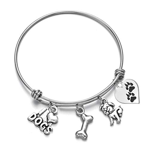 Dog Charms Bracelet I Love Dogs Paw Print Dog Lover Jewelry Gifts for Her (Dog)