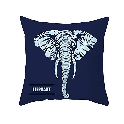 Almohada Decorativa con Relleno Elefante gris-azul Pillowcase+core,35x35cm Grande Rectangular Suave Cuadrado Cojines Throw Pillow Case para Sofá Coche Decoración para Hogar Fundas para Cojín B2832