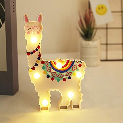 YOUNCIER Nachtlicht für den Hausgarten Alpaka Lama LED-Lampe Leuchten Dekoratives Modellierlicht für das Haus Nachttischdekoration Geschenke für Kinder Batteriebetrieben
