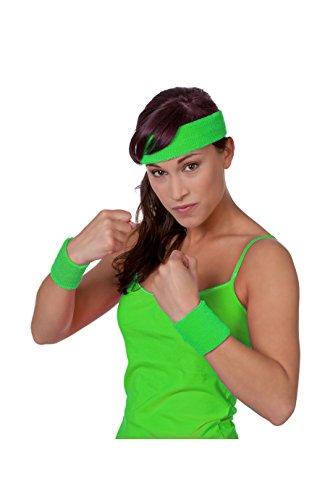 Jannes 51070 Schweißband-Set aus Strick 3-Teilig Stirnband Armband Armreif Disco Neon Fitness Einheitsgröße Neon-Grün