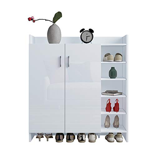 Senvoziii Schuhschrank Schuhkipper mit Hochglanz 2 Türen Schrank Schuhregal Sideboard 21 Paar Schuhe 83 x 29 x 96 cm