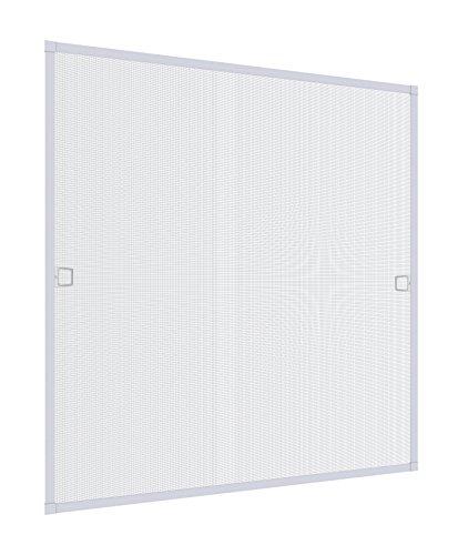 Windhager Insektenschutz Spannrahmenfenster Plus, Fliegengitter, Alurahmen für Fenster, individuell kürzbar, 100 x 120 cm weiß, 03898