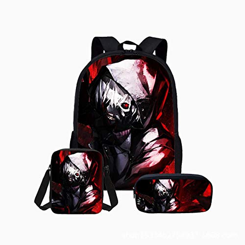 pZgfg Tokyo Ghoul Anime Backpack Laptop Bag Travel Daypack For Kids Girls Boys Teens School Bags Cosplay Unisex Men Women Rucksack Shoulder Bags Pencil Case 3 Piece Set