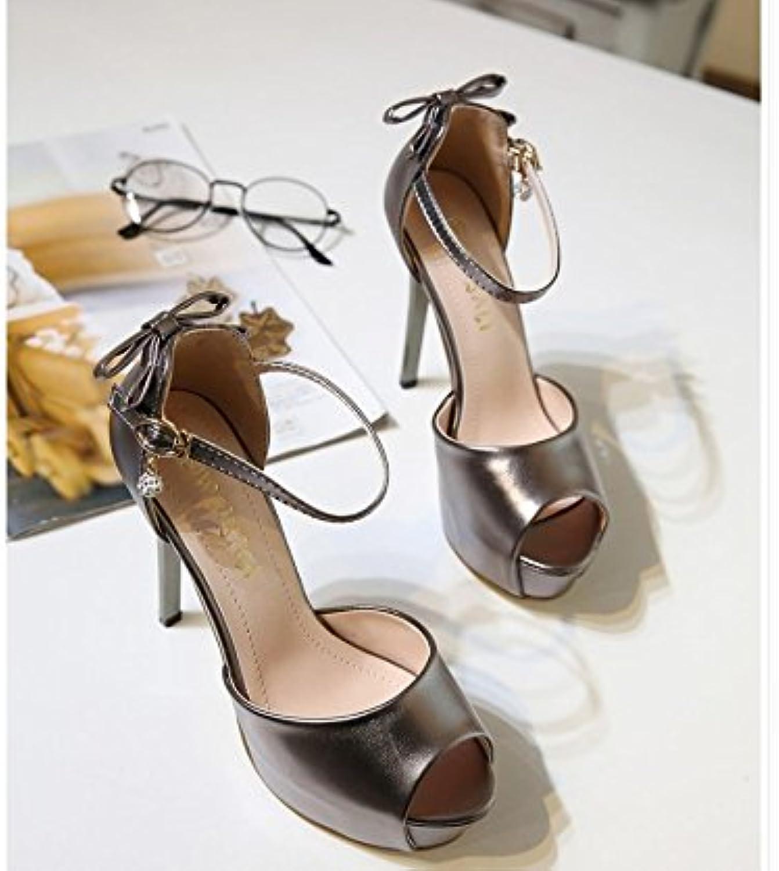 WHW Women's Flat Heel low heel rhinestone Casual sandals,38,gun