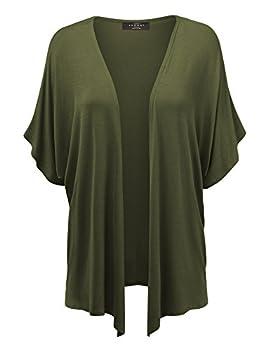 MBJ Womens Short Sleeve Dolman Cardigan XL Olive