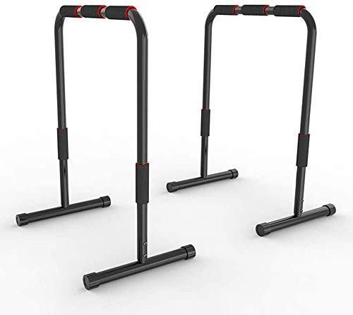 MGIZLJJ Deluxe Multifunction Heavy Duty Bicep Tricep Exercise Training Parallel Bar Dipping Station Bars Self Standing Dip Bar Stand W/Rubber Padded Grips
