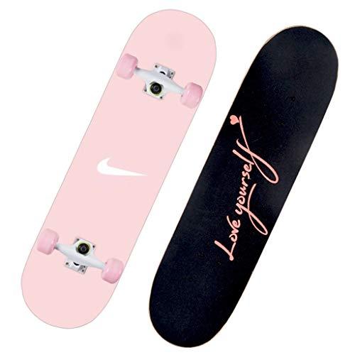 Lgan Skateboard Erwachsene, 31x8in Ahorn Longboard Kinder, Anfänger Skateboard Deck, Mädchen Pennyboard (Color : EE)