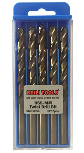 HSS M35 Cobalt Twist Drill Bits, Pack of 5 (8mm, 5/16')