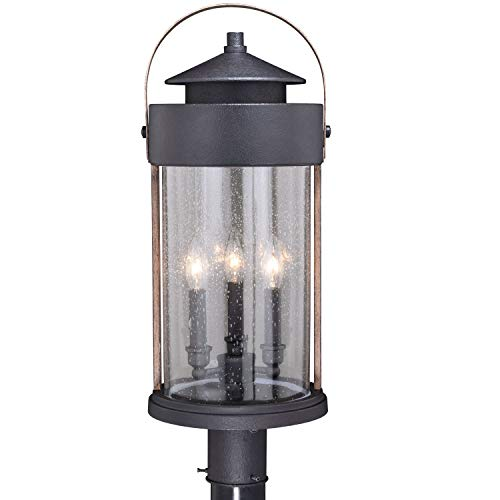 VAXCEL Bronze Outdoor Post Light - Dusk to Dawn Post Light, Outdoor Lamp Post Light Fixture Photocell Sensor, Dark Bronze and Burnished Oak Wood Accents for Farmhouse and Rustic Decor