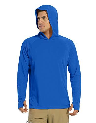 KEFITEVD Camiseta de manga larga para hombre, protección solar UPF 50+, con capucha, agujero para el pulgar, de secado rápido, camiseta funcional para pesca, senderismo azul cobalto XL
