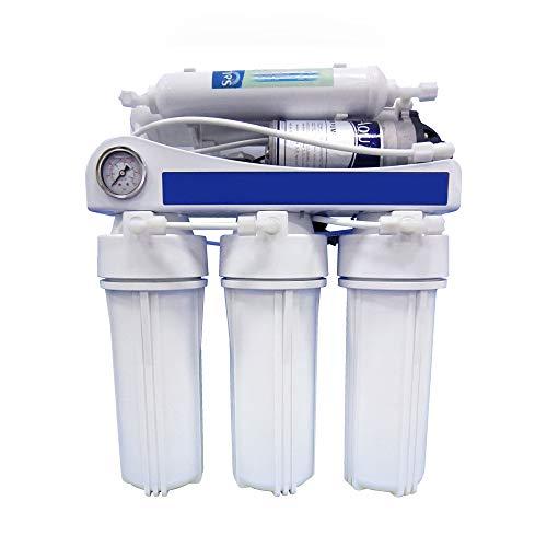 Bbagua Equipo de Osmosis Inversa de 5 Etapas con Bomba de presión, Blanco, Estándar
