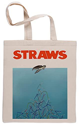 Bioclod Tartaruga cannucce Riutilizzabile Cotone Beige Sacchetto Reusable Cotton Shopping Bag