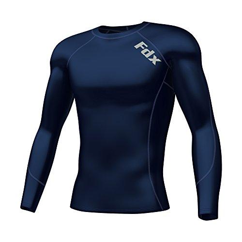 FDX Maglia intima termica aderente da uomo a maniche lunghe, per palestra e altri sport, FDX-310, blu navy, XL